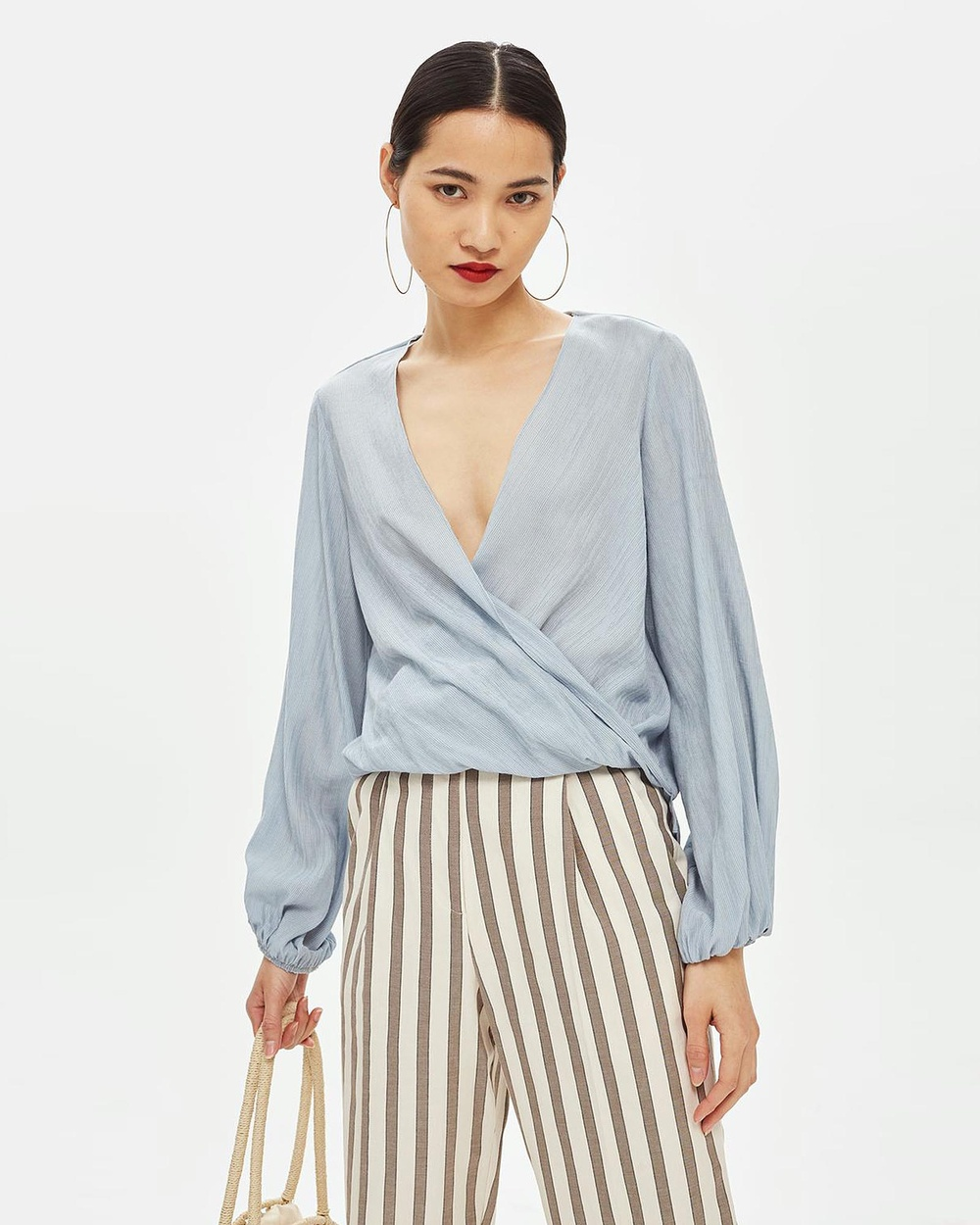 TOPSHOP Casual Drape Top Tops Light Grey Casual Drape Top