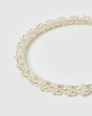 Izoa Juliet Headband - Hair Accessories (White Pearl)