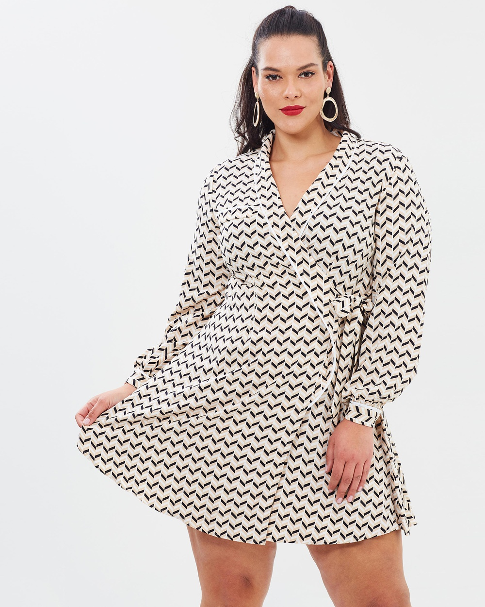 Atmos & Here Curvy ICONIC EXCLUSIVE Kara PJ Dress Dresses Chevron Print ICONIC EXCLUSIVE Kara PJ Dress