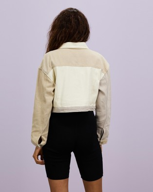 Missguided - Neutral Patched Cropped Jacket - Denim jacket (Cream) Neutral Patched Cropped Jacket