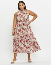 You & All - Plus Floral Print Halter Neck Maxi Dress