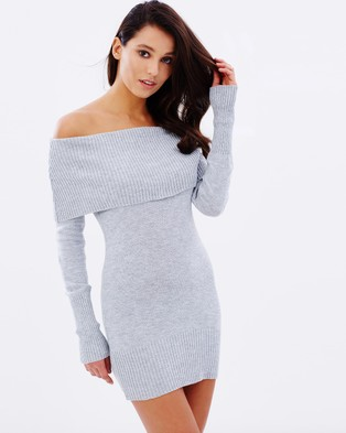 Lioness – Before the Storm Knit Dress – Bodycon Dresses (Grey)