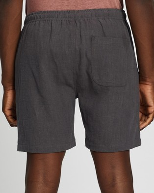 AERE Ramie Pull On Shorts Charcoal