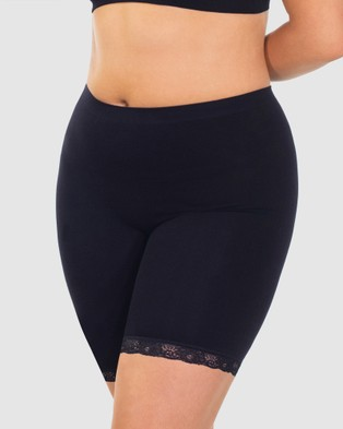 B Free Intimate Apparel Mid Rise Anti Chafing Cotton Shorts - Bottoms (Black)