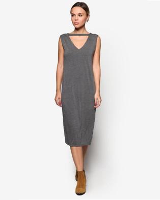 BoyFromBlighty – Choker Collar Midi Dress Grey