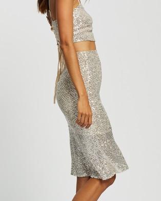 Glamorous Silver Sequin Skirt - Skirts (Silver)