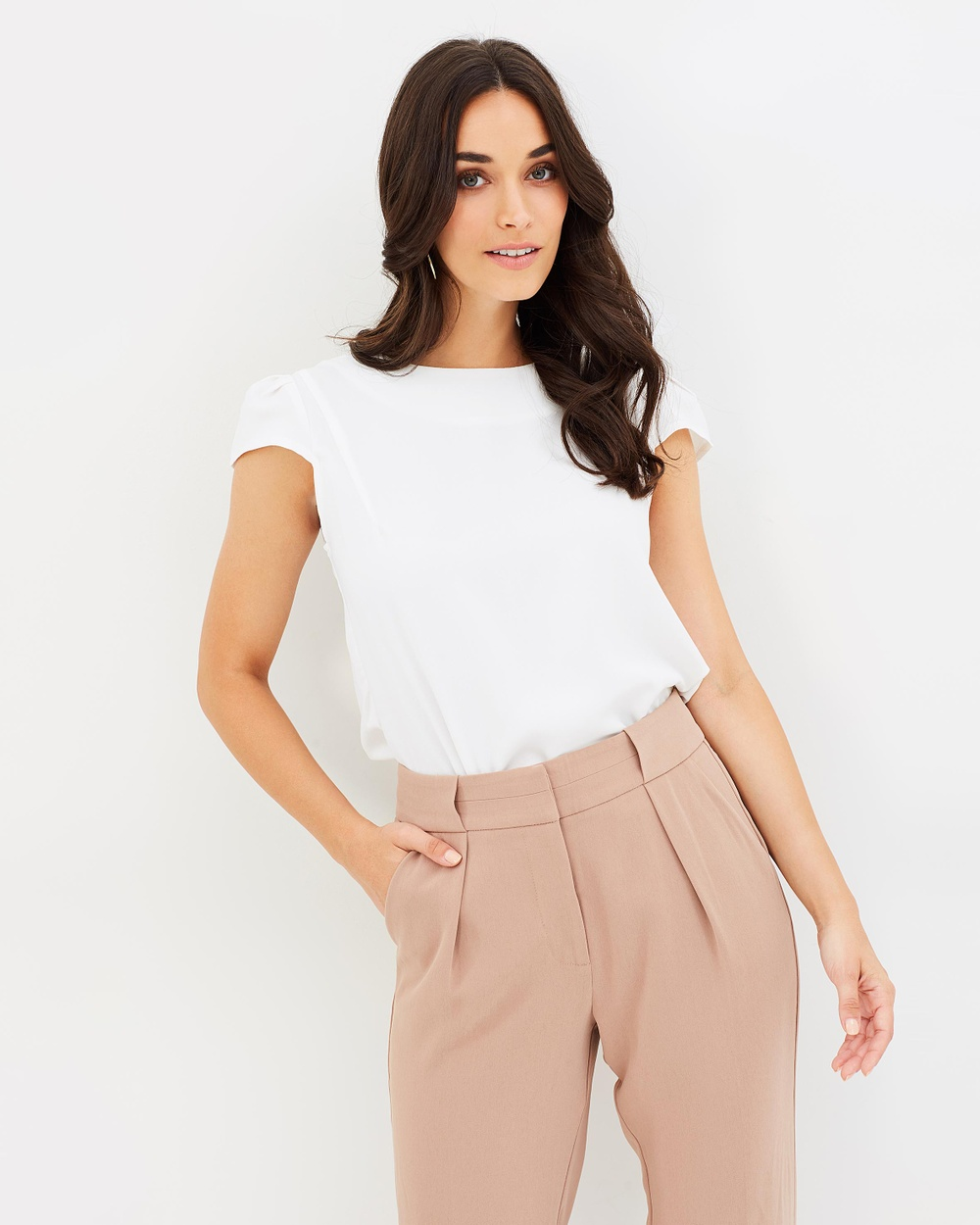 Forcast Dana Cap Sleeve Top Tops Ivory Dana Cap Sleeve Top