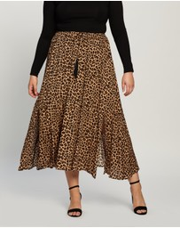 Atmos&Here Curvy - Domanique Animal Midi Skirt