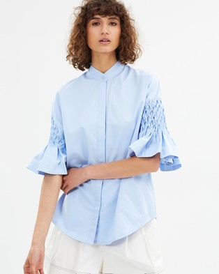 Lover – Honeycomb Flare Blouse Soft Sky