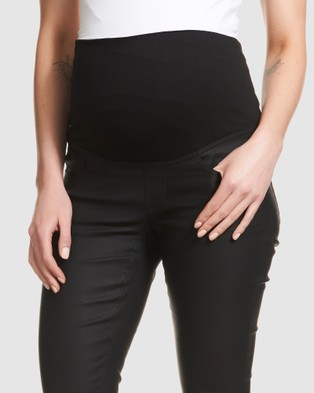 Soon Maternity Coated Overbelly Jeans - High-Waisted (Black)