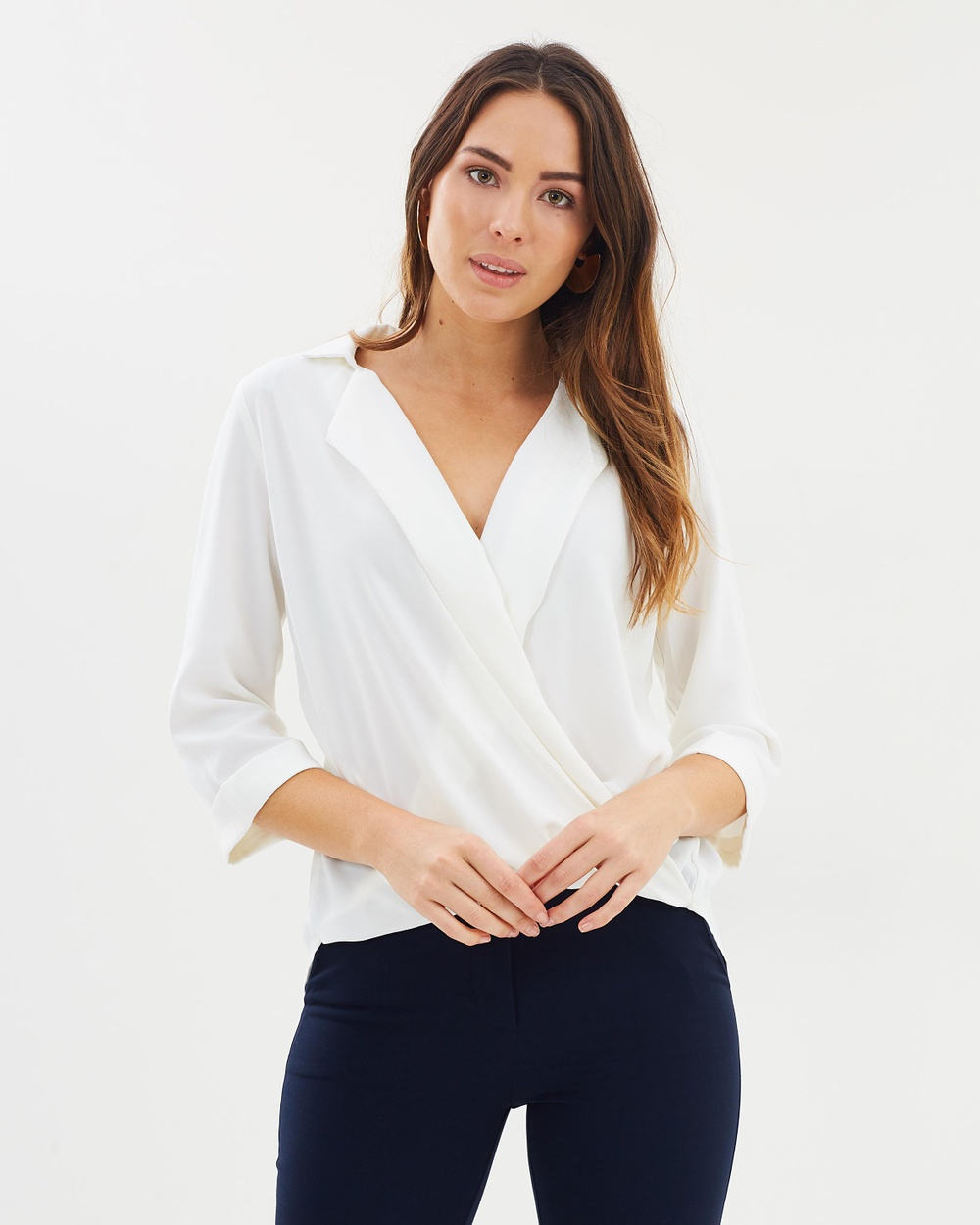 Forcast Stevie Collared Blouse Tops Ivory Stevie Collared Blouse