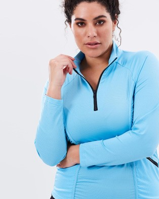 Curvy Chic Sports Stay Cool Long Sleeve Top - T-Shirts & Singlets (Blue)