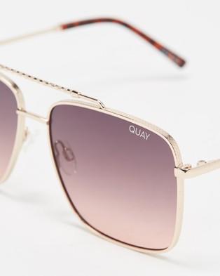Quay Australia Hot Take - Sunglasses (Gold & Smoke To Pink Lens)