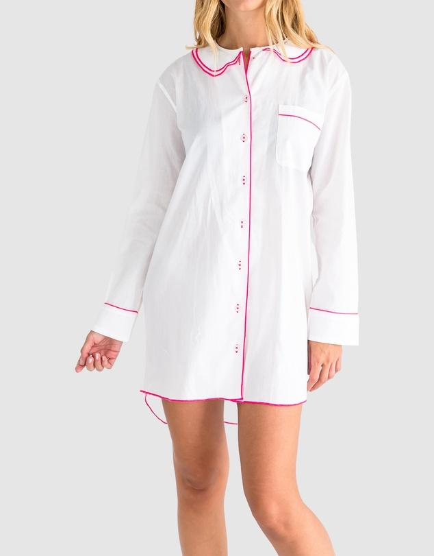 Women Women's Cambric White Night Shirt