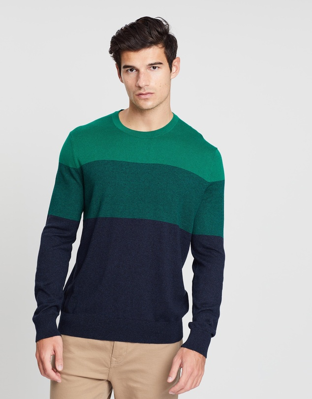 Banana Republic - Silk Cotton Blocked Crew Jumper