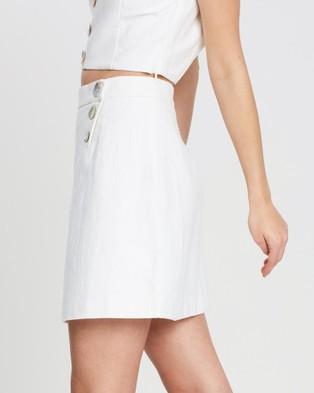 FRIEND of AUDREY Astor Linen Mini Skirt - Skirts (White)