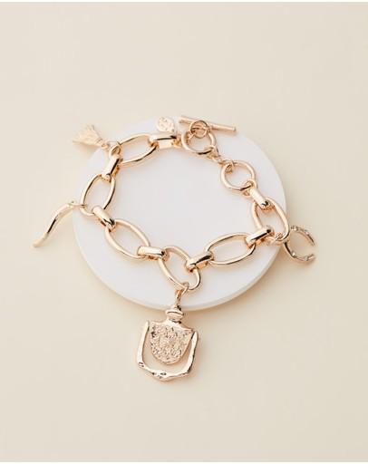Bling Bar Anna Charm Bracelet Soft Polished Gold & Pearl