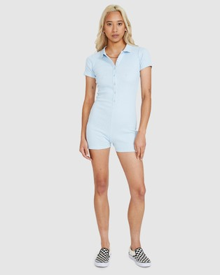 Insight Ashley Ribbed Playsuit - Jumpsuits & Playsuits (BLUE)
