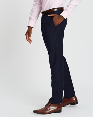 Kent and Curwen Striped Pleated Dress Pants - Pants (Blue)