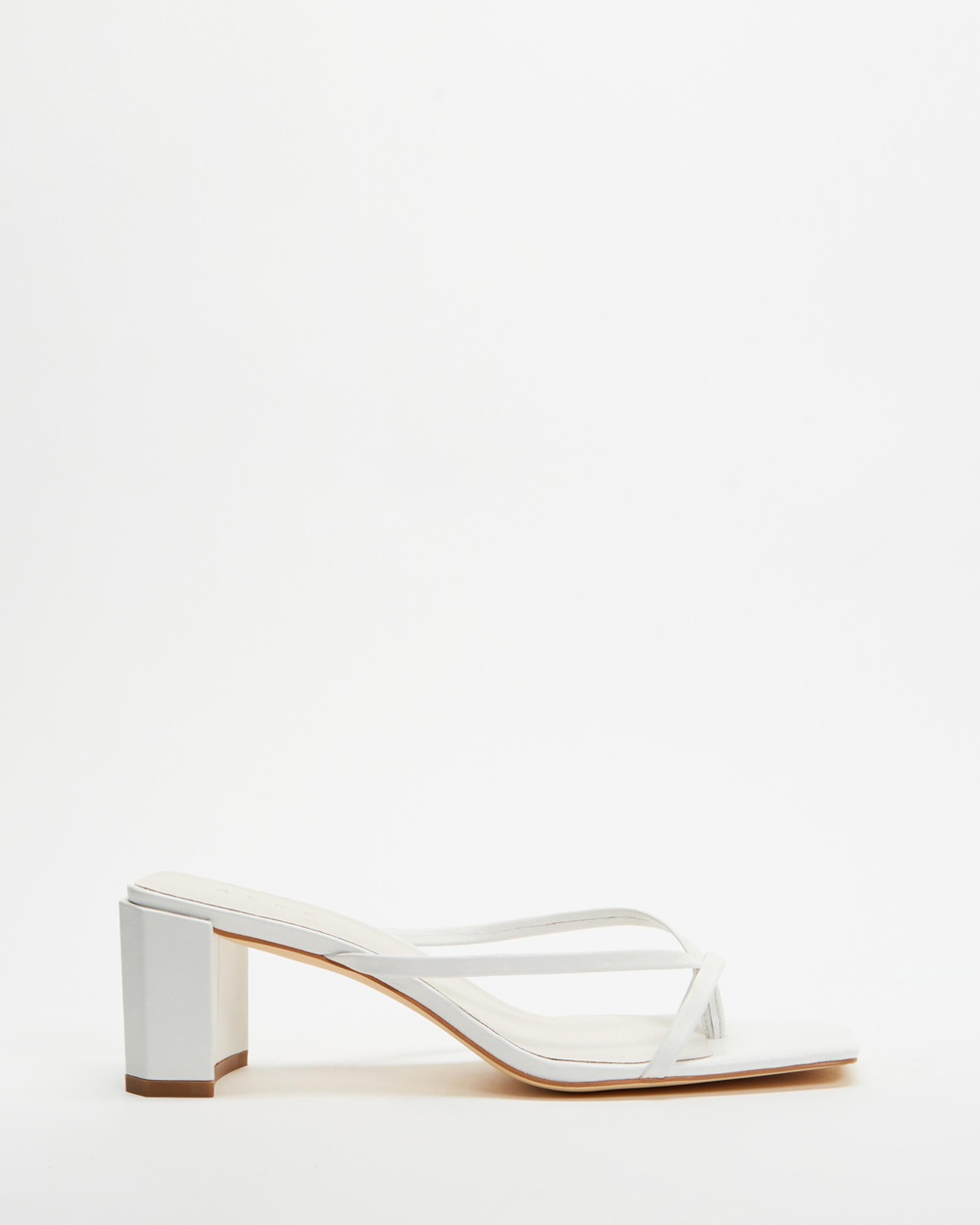 AERE Strappy Leather Block Heel Thongs Sandals White Leather