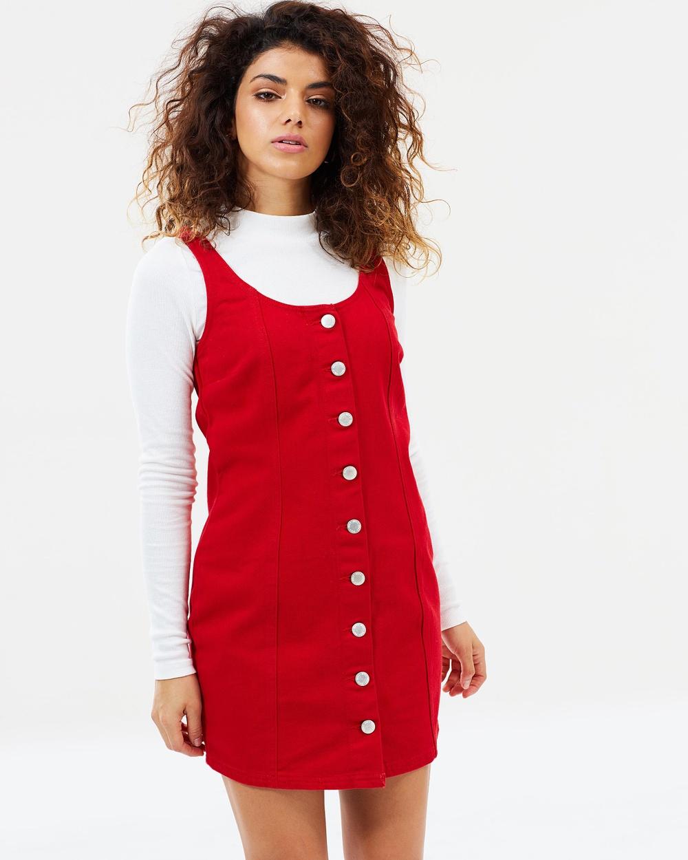Miss Selfridge Petite Pinstripe Button Pinafore Mini Dress Dresses Red Pinstripe Button Pinafore Mini Dress