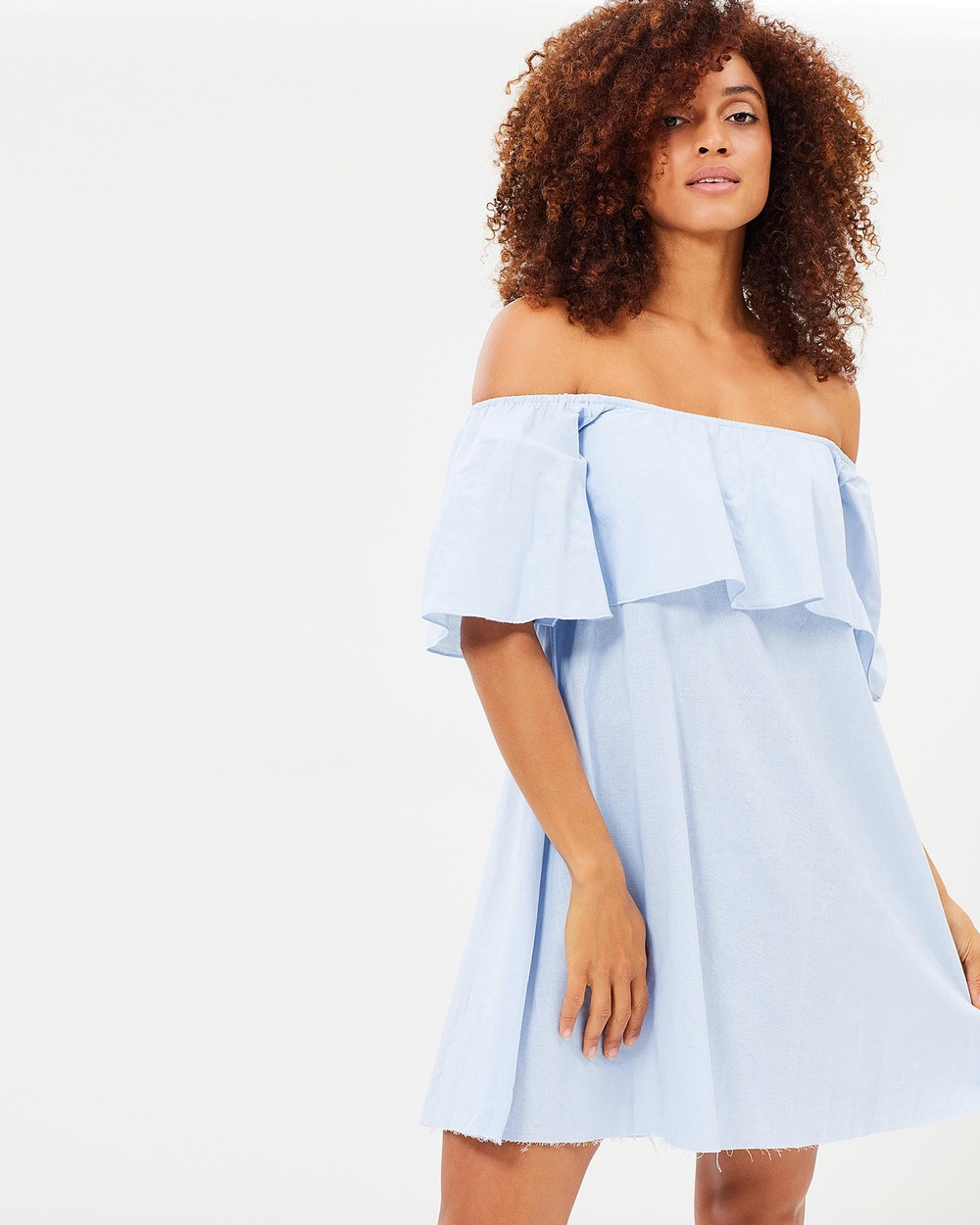 Tee Ink Ocean Avenue Off Shoulder Ruffle Dress Dresses Clouded Blue Ocean Avenue Off-Shoulder Ruffle Dress