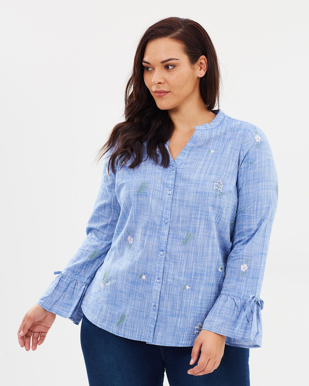EVANS Chambray Embroidered Shirt Tops Blue Chambray Embroidered Shirt