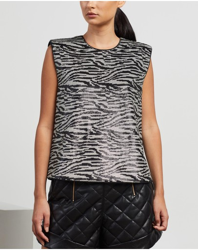 Self Portrait - Zebra Sequin Sleeveless Top