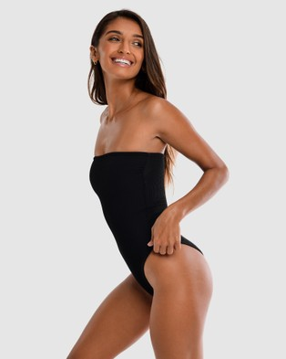 Cali Rae - Brazil Ribbed Swimsuit One-Piece / (Black)