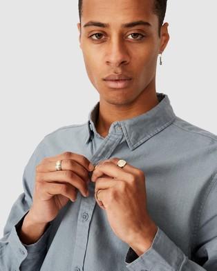 Cotton On Linen Cotton Long Sleeve Shirt - Casual shirts (Blue Haze)