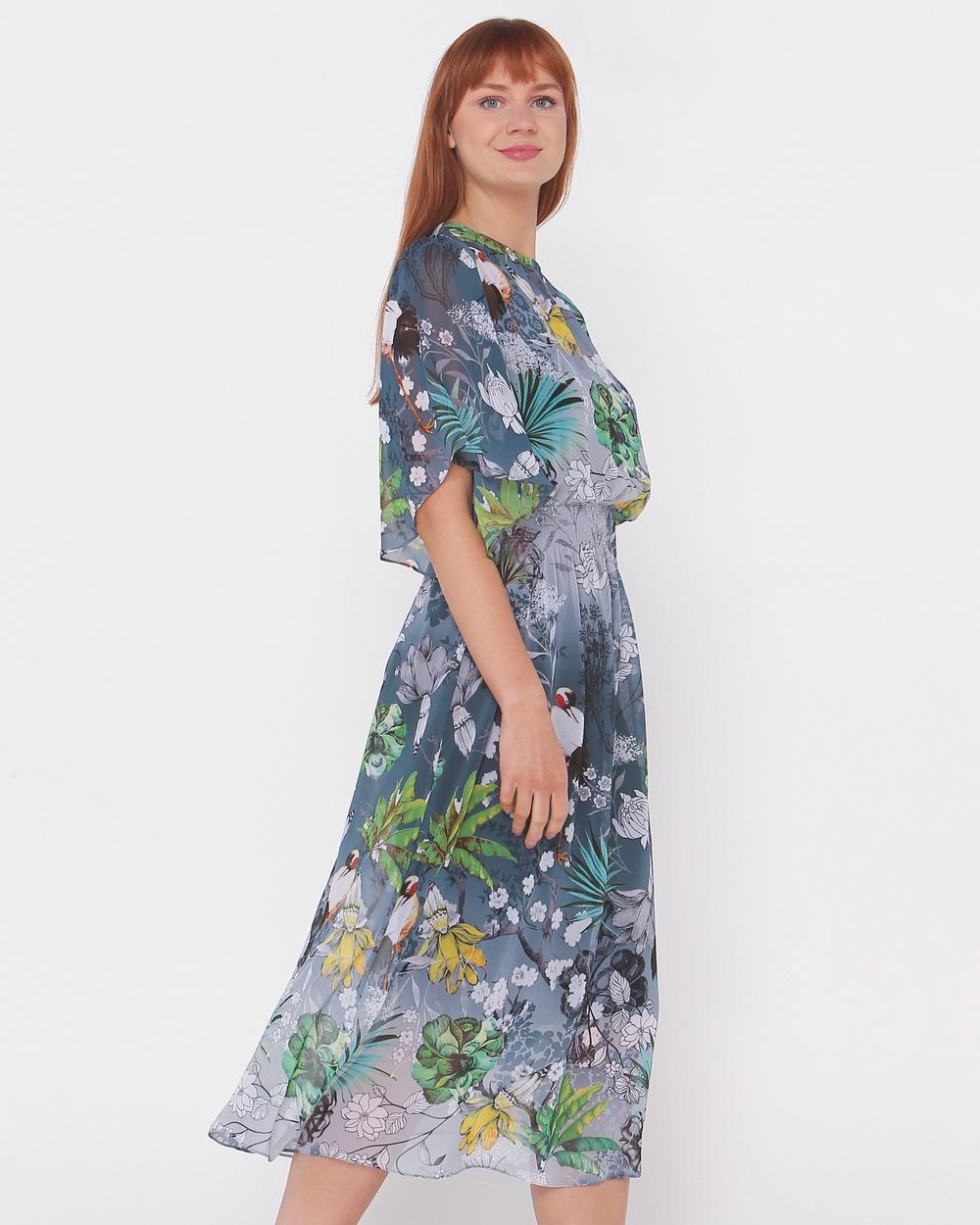 Faye Black Label - Clarissa Bell Sleeve Dress - Printed Dresses (Ocean Garden) Clarissa Bell Sleeve Dress