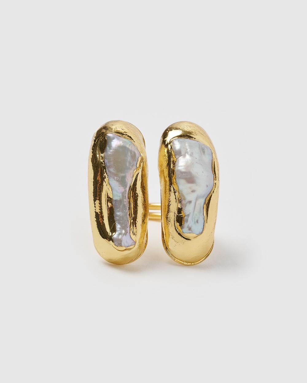 Miz Casa and Co Mara Ring Jewellery Gold Freshwater Pearl