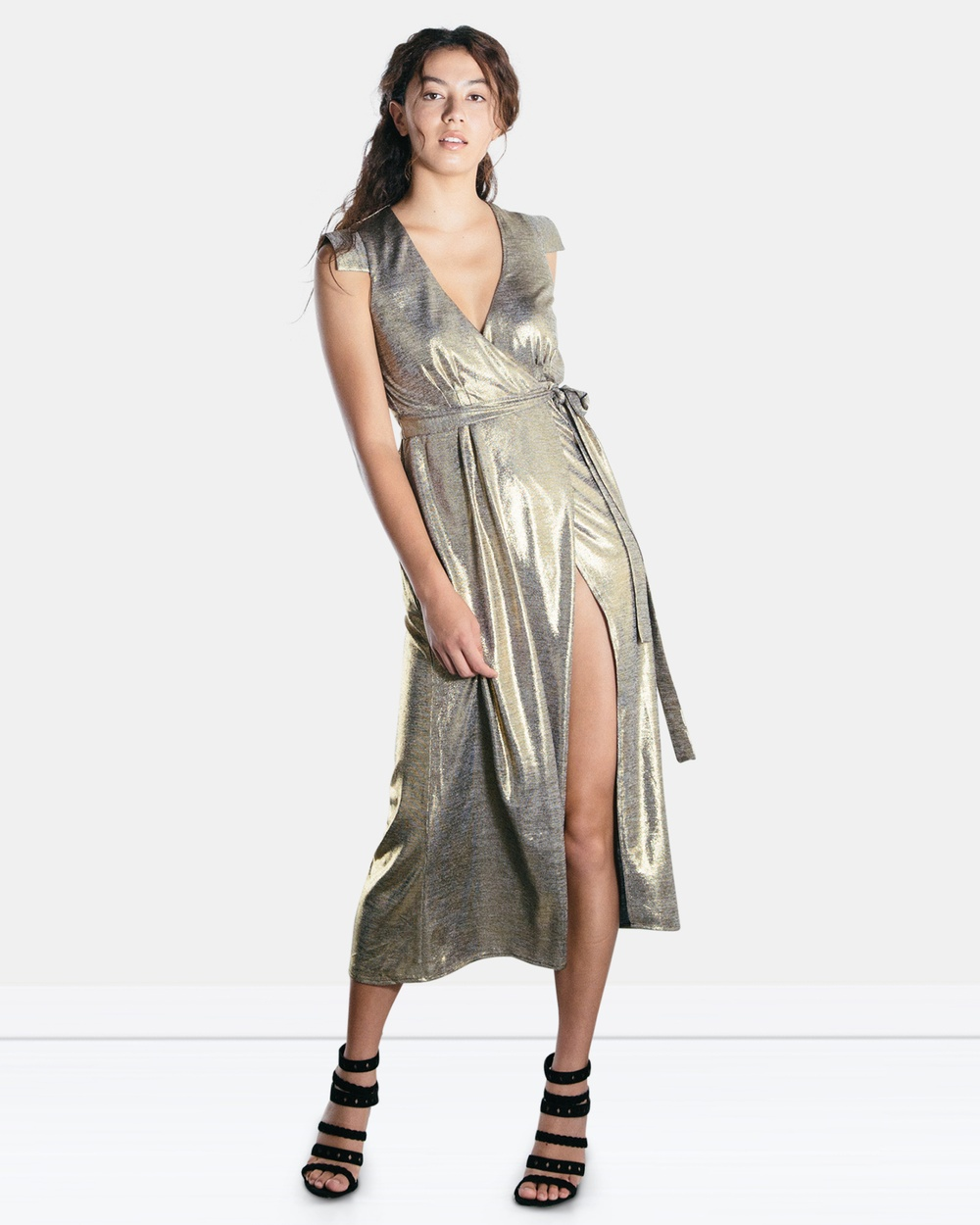 The Rushing Hour Gold Dust Til Dawn Wrap Dress
