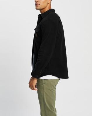 Brixton Bowery Fleece LS Flannel - Tops (Black)
