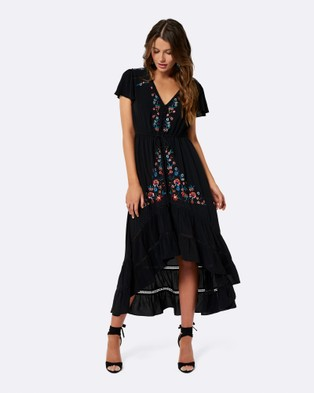 Forever New y Embroidered Peasant Dress Black
