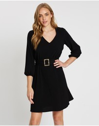 Wallis - Buckle Crepe Fit-and-Flare Dress