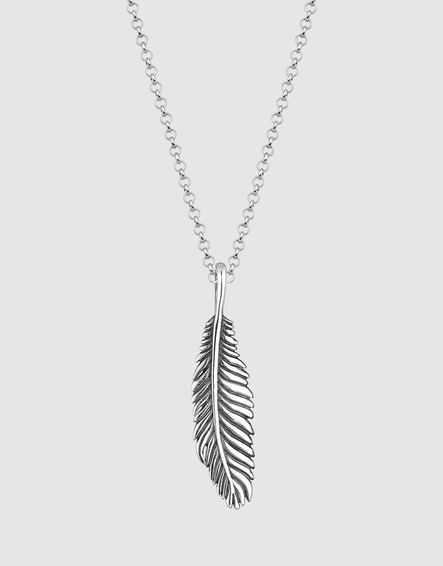 Men Necklace Feather Bird Oxide 925 Sterling Silver
