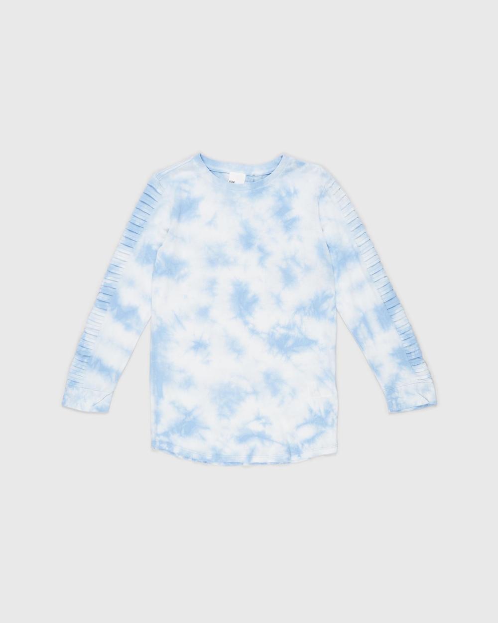 Free by Cotton On Moto Long Line Tee Teens T-Shirts & Singlets Dusk Blue Tie Dye Australia