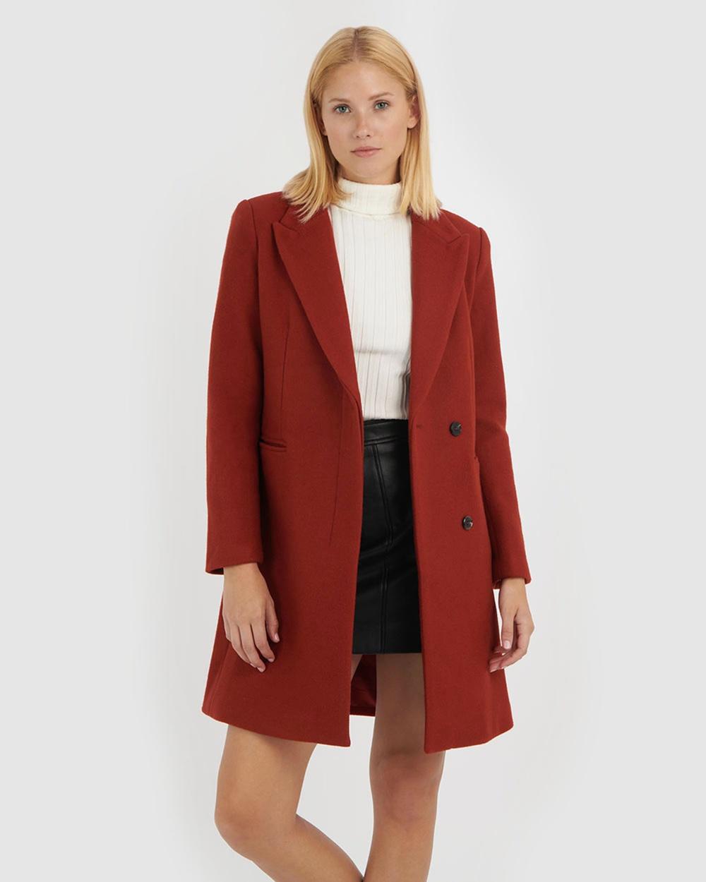 Forcast Kaelynn Wool Blend Coat Coats & Jackets Crimson Red Wool-Blend