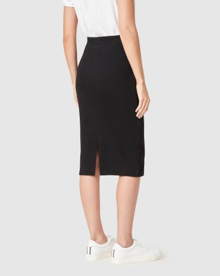 French Connection Ribbed Pencil Skirt - Skirts (BLACK)