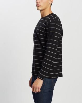 Cotton On Brunswick LS Stripe T Shirt - T-Shirts & Singlets (Black & Vintage White Triple Stripe)