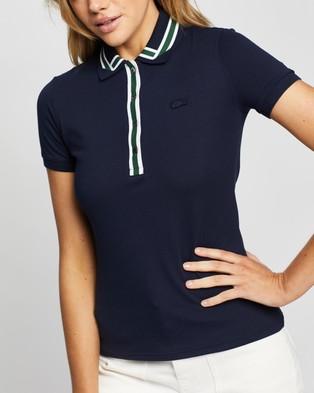 Lacoste Semi Fancy Ribbon Collar Polo Shirt - Tops (Navy Blue)