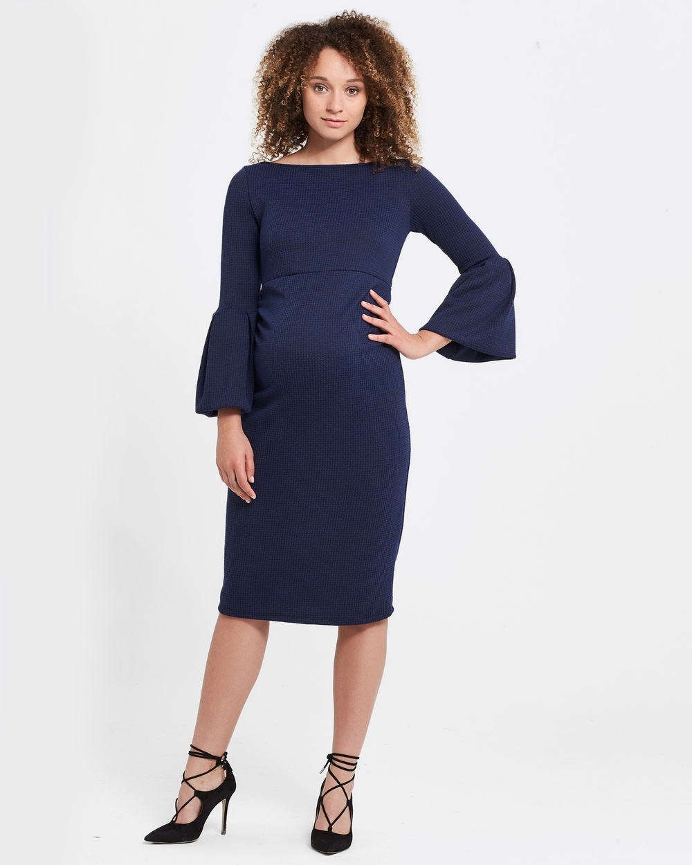 Soon Maternity Myra Ruffle Maternity Dress Dresses Navy Check Myra Ruffle Maternity Dress