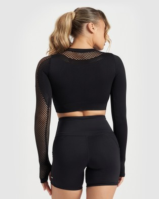 Core Trainer Synergy Long Sleeve Crop - Crop Tops (Solid Black)