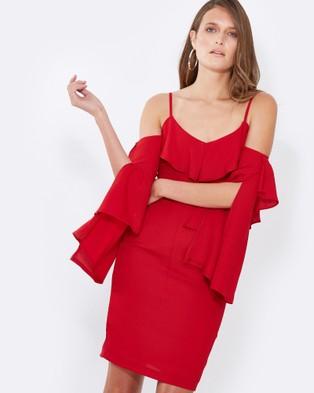 Tussah – Jena Layered Midi Dress – Bodycon Dresses Crimson