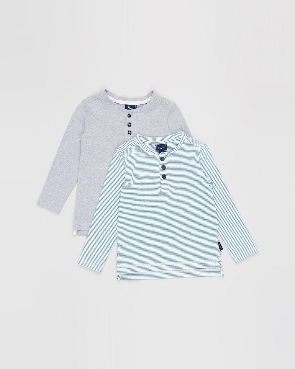 Pappe 2 Pack Croft Henley LS T Shirt Babies Kids T-Shirts & Singlets Grey Corsair Stripe 2-Pack T-Shirt Babies-Kids Australia