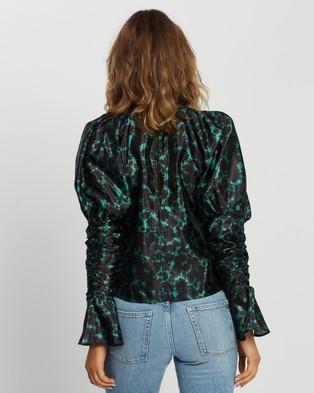 TOPSHOP Taffeta Sleeve Drama Blouse - Tops (Green)