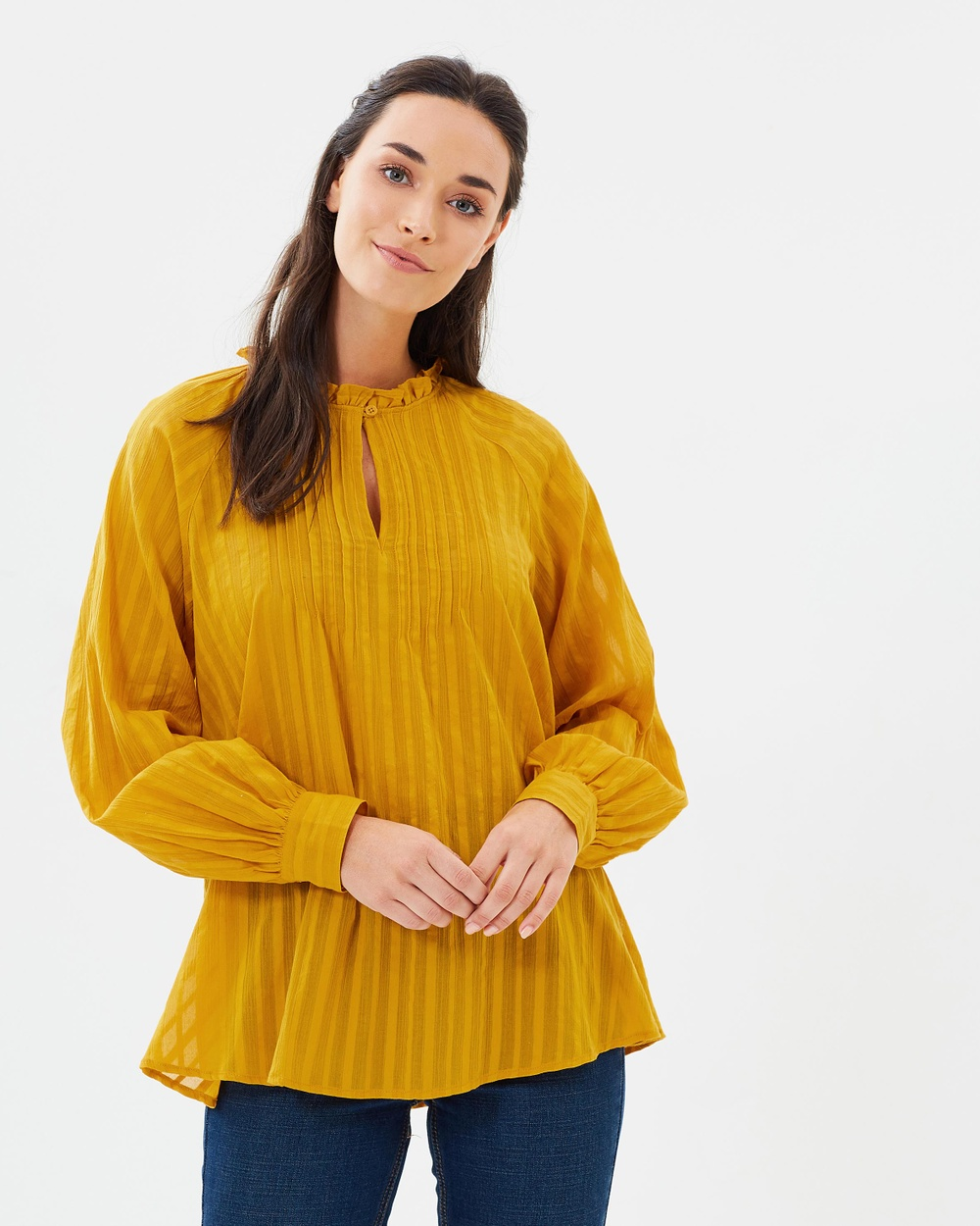 French Connection Moala Cotton Flared Top Tops Yellow Moala Cotton Flared Top