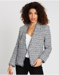 Banana Republic Petite - Collarless Fray Tweed Blazer