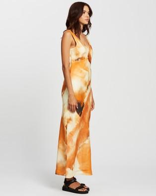 AERE Bias Cut Linen Midi Dress - Printed Dresses (Watercolour)